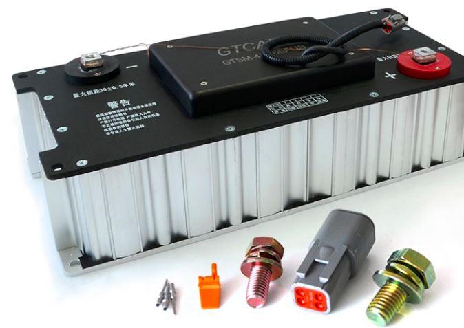 Detalle de batería y condensadores